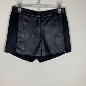 Ramy Brook- Black Leather and Silk Shorts size xs